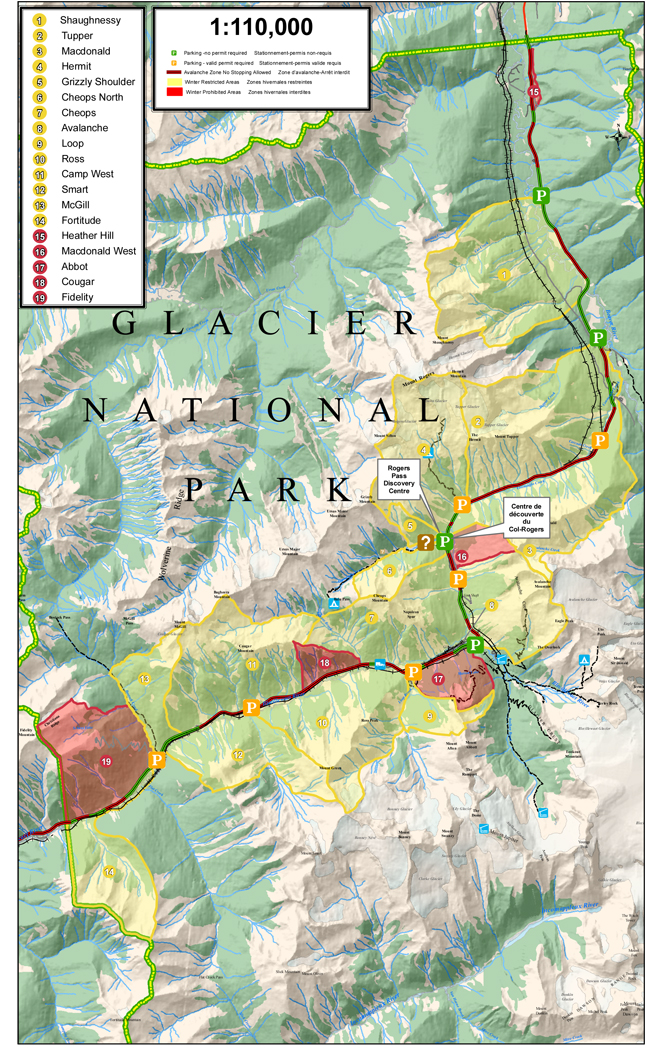 Map of new Winter Restricted and Prohibited Areas in Glacier National Park. The Winter Prohibited Areas are not accessible to recreationists in winter. The Winter Restricted Areas are accessible by holders of a valid Winter Permit--which will be required when the Winter Permit System takes effect in the coming weeks. Map courtesy of Parks Canada