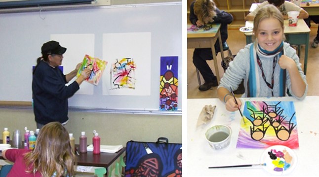 Jerry Whitehead examines a student's work during his session with kids at Mountain View School this week (left. Kids like Emily Suchy really enjoyed the chance to paint under the guidance of professional artist. Photo by student photographer Sarah Boaz