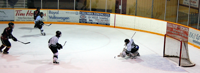 The nelson goalie beats the marksman is this seconds-long drama during the Bantam Tournament championship game Sunday afternoon. David F. Rooney photo