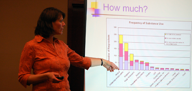Social Development Coordinator Jill Zacharias points at statistics about alcohol and drug consumption at RSS. Alcohol is clearly the drug of choice. David F. Rooney photo