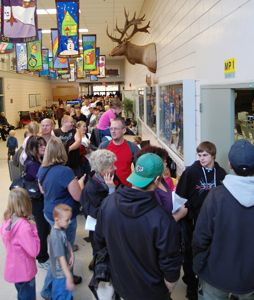 A crowd of about 300 people were waiting in line for H1N1 flu shots at the Community Centre at 9:15 a.m. today. David F. Rooney photo