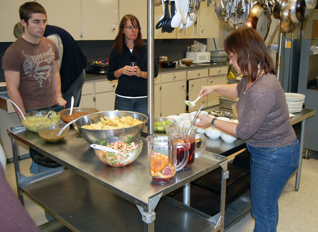 Instructor Sherry Klemensen prepares the bowls for the class favourite: tortilla soup. David F. Rooney photo