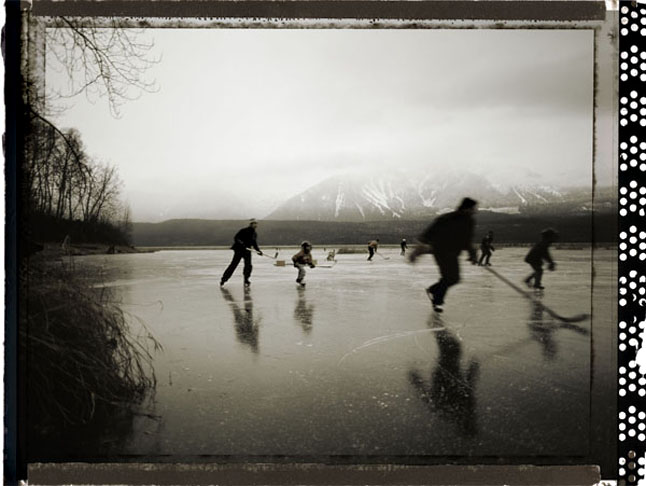 Even today, when indoor rinks abound, nothing is quite the same as a game played outdoors, like this one played on Montana Slough on the southern edge of Revelstoke. Photo courtesy of Kip Wiley