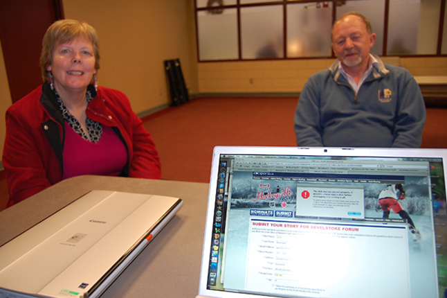 Jackie and Gary Pendergast, who knew very little about hockey before immigrating to Revelstoke, dropped by the Hockeyville 2010 Committee's Story Writing Workshop at the Community Centre to tell their story. David F. Rooney photo