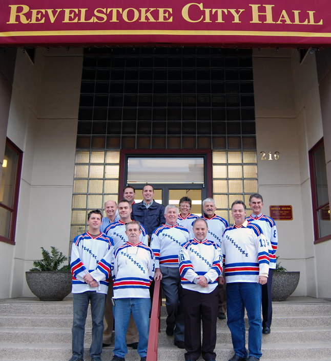 MLA Norm Macdonald joined members of City Council and the Revelstoke Hockeyville 2010 Committee in a show of support for Revelstoke's bid to win the national Kraft Hockeyville competition. Macdonald even vows to send a story and a photo to the Hockeyville site in support of the community's bid. You can do your part, too. Look for the story on the Sports page about writing your own story to support Revelstoke's Hockeyville application. David F. Rooney