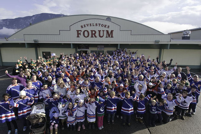 Who can deny the appeal of hockey in Revelstoke? As this photo shows, people of alla ges and genders love the game and want their community to win the Kraft Hockeyville 2010 contest. Photo courtesy of Kip Wiley