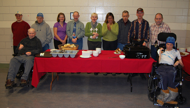 Chili and smiles were on the menu at the Community Centre as the folks involved in the Community Inclusion Program served up bowls of vegetarian or meat chili to customers. These lovely men and women are trying to raise enough money to help finance a trip to Victoria next summer. David F. Rooney photo