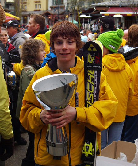 Lachlan Hicks holding the Whistler Cup. Lachlan was a member of Team Canada who regained the title this past spring from 2007. The Whistler Cup hosted young athletes from Japan, Finland and the United States, to name only a few.  Photo courtesy of Todd Hicks
