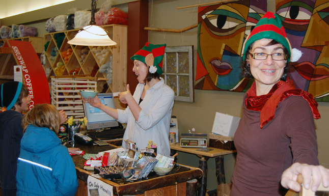 This pair of elves, Ariel Christman (left) and owner Janet Pearson (right), were clearly in the spirit of things at the Talisman. David F. Rooney