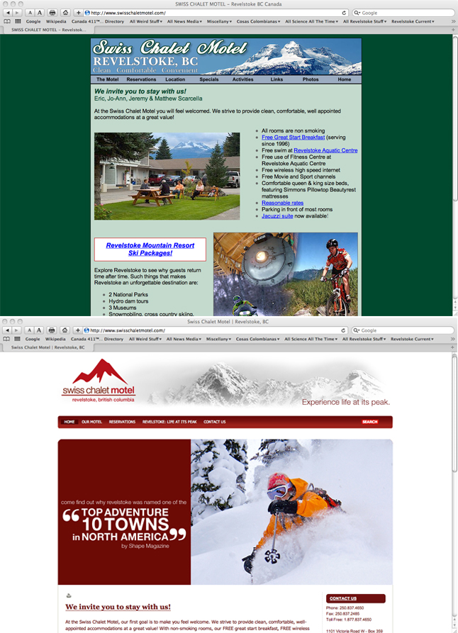 This is what rebranding can look like on a website, in this case the Swiss Chalet Motel website. Screenshot by David F. Rooney