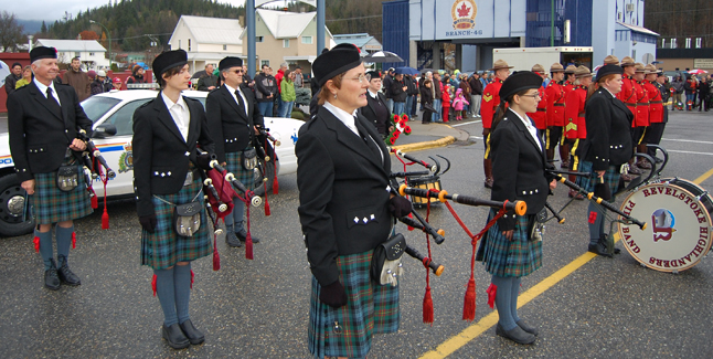 The Revelstoke Highlanders Pipe Band were an especially stirring component of Remembrance Day. David F. Rooney photo