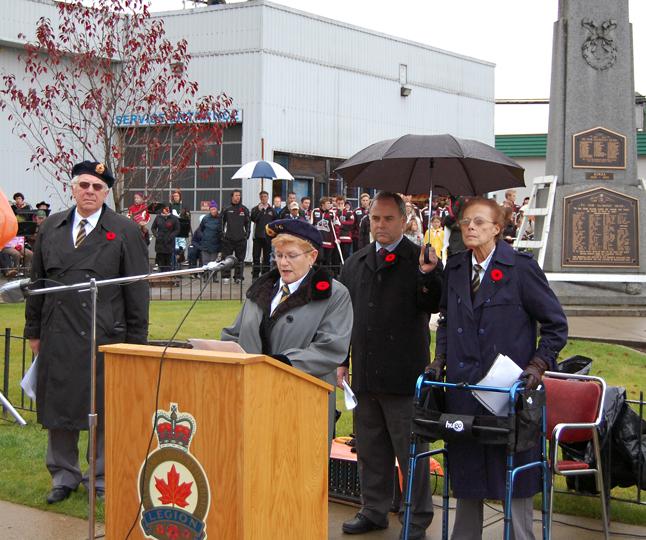 Branch 46 President Sue Driediger addresses the crowd. David F. Rooney photo