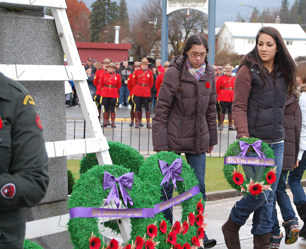 Two Revelstoke Secondary School students look for a spot to lay their wreath. David F. Rooney photo