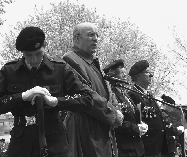 MP Jim Abbott speaks at a previous Remembrance Day ceremony in Cranbrook. Photo courtesy of MP Jim Abborr