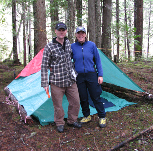 Chris Hrabb and Karen Wahlstrom's shelter looked pretty cozy — even comfy. Photo courtesy of Revelstoke SAR