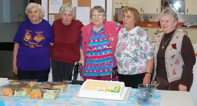 Wednesday was Birthday Party Day at the Seniors' Centre and here are some of the birthday girls who celebrated with a cake and tea. From left to right are: Lorna Johansson, Nancy Webber, Elva Freer, Lorna Duncan and Elva McInnes. The party for seniors with birthdays in November and December, which was well attended by 30 or 40 people, would also have been attended by centenarian Thelma Nilsen who turned 104, but she was reportedly feeling poorly and stayed home at Mount Cartier Court. The monthly birthday parties will resume in 2010 under two new birthday convenors, Rose Fowli and Jesse Olson. David F. Rooney photo