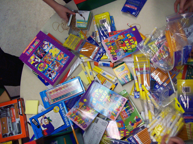 Here's a bird's-eye view of some of the supplies gathered by the students. Photo by student photographer Kelsey Marsh