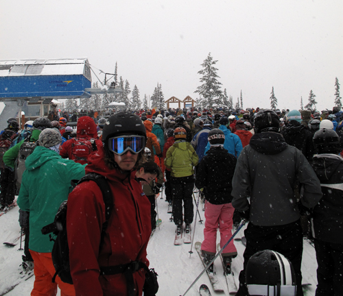 With fantastic conditions up above, standing in line for an hour or more was well worth it. Photo courtesy of Karilyn Kempton/Revelstoke Mountain Resort