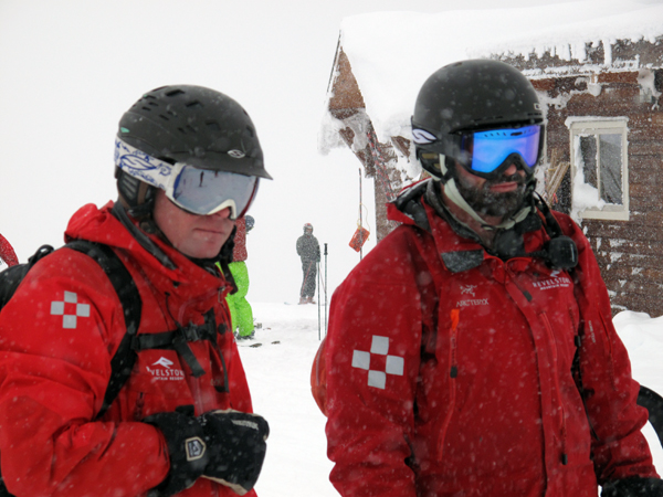 Ski Patrollers Troy Leahey (left), RMR's senior avalanche forecaster, and professional Ski Patroller Scott Dixon were ready for the slopes. Photo courtesy of Karilyn Kempton/Revelstoke Mountain Resort