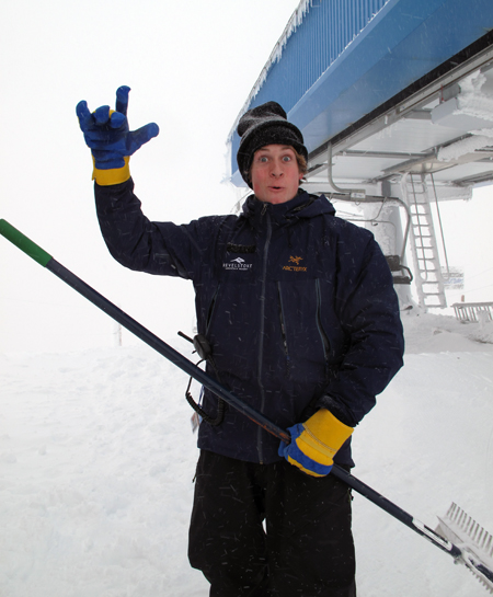 RMR employees like this one had something to smile about with the snow conditions on Mount Mackenzie. Photo courtesy of Karilyn Kempton/Revelstoke Mountain Resort