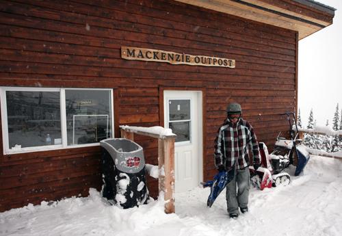 A boarder leaves the Mackenzie Outpost for a run on the slopes. Photo courtesy of Karilyn Kempton/Revelstoke Mountain Resort