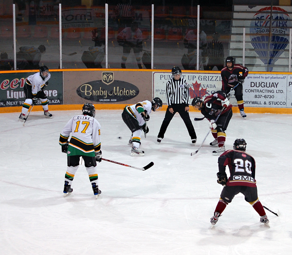 The Revelstoke Minor Hockey League Titans face off against the Rossland-Trail Broncos in a heartbreaking game that saw the hometown team go down 3-10 in a tournament here last weekend. The team also lost 2-5 to 100 Mile House but beat Nakusp 3-0. David F. Rooney photo