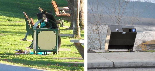 Here's visual proof of the difference bear-proof trash containers can make. On the left a black bear, photographed by Francis Maltby, chows down on the contents of an open garbage can across from the Community Centre during the summer of 2008. A year later, that can has been replaced by a new bear-proof garbage can. Photos courtesy of Revelstoke Bear Aware