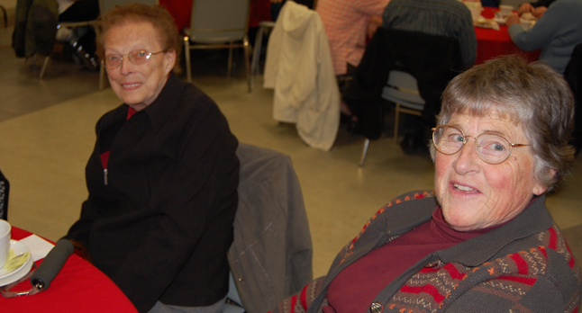 Marlene MacQuarrie (left) and Myrna Robinson shared tean and good conversation in the Tea Room.  David F. Rooney photo