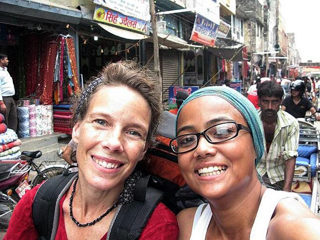 Laura Stovel and her friend Sradda Thapa in a rickshaw. Photo courtesy of Sradda Thapa