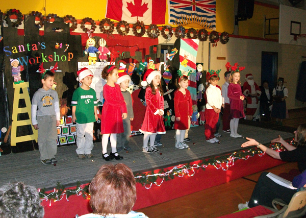 """AHE Kindergarten students perform """"Christmas is a time to Sing"""" at the annual school concert. Photo courtesy of Todd Hicks"""