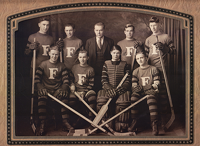 Murray Little, on the far right of the front row, played with the local hockey team back in the twenties when he was sixteen. The Revelstoke Falcons posed for this photograph after winning the 'Tri-City Championship' in 1929. Photo courtesy of Barbara J. Little