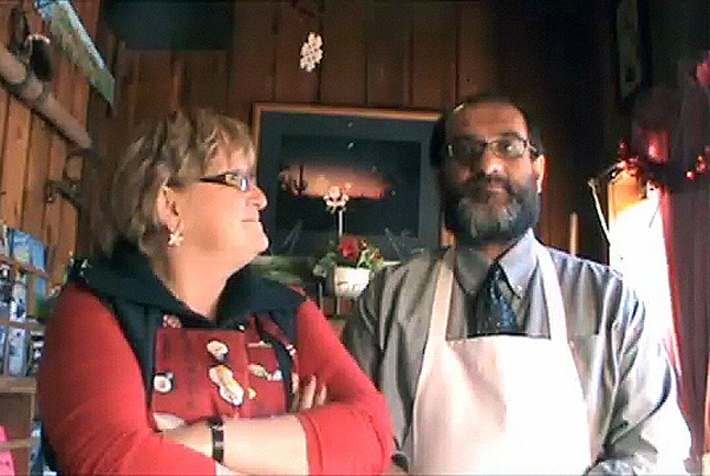 Ginger Shoji (left) has been organizing the Community Christmas Dinner since its inception 15 years ago. Matt Singh has donated his kitchen and restaurant as the venue for the event for the last five or six years. They both believe the dinner says a lot about Revelstoke and its community values.  Revelstoke Current Video still by David F. Rooney