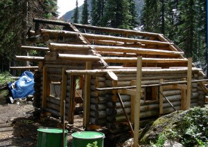 Rebuilding the weathered Glacier Circle Cabin was a challenging task for the Friends of Mount Revelstoke and Glacier. This image shows it at the beginning of the reconstruction. Photo courtesy of the Friends of Mount Revelstoke Glacier