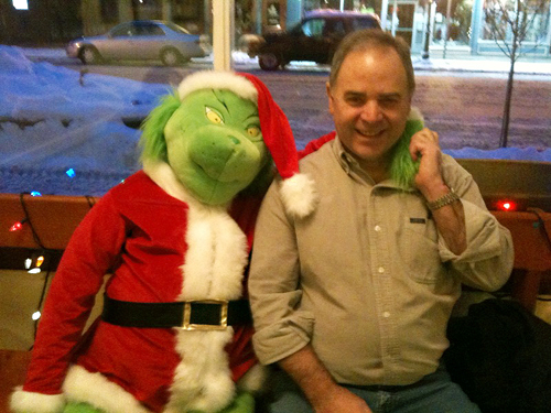 Who knew The Grinch was politically connected. Here he is hanging out with Whoville Mayor — uh better make that Revelstoke Mayor — David Raven. Photo courtesy of Laurel Russell