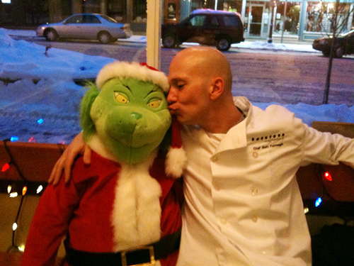 The Grinchster also appears to have good culinary taste, witness his friendship with Revelstoke Mountain Resort Chef Matthew. Photo courtesy of Laurel Russell