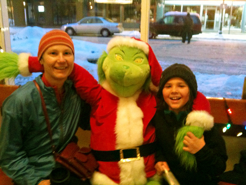 And last, but by no means least even though we don;t know who they are, Mr. Grinch brought a smile to the faces of this mother and child. Photo courtesy of Laurel Russell