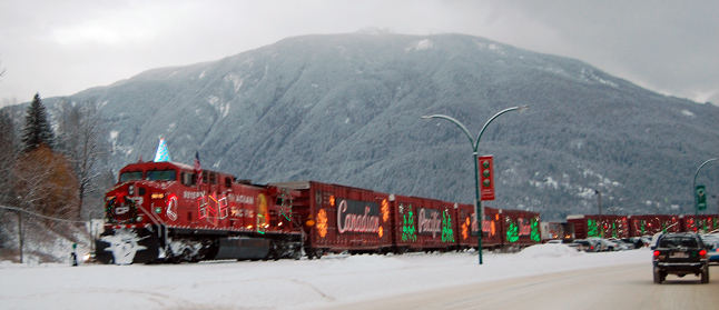 The Canadian Pacific Railway's annual Holiday Train rolled into Revelstoke right on time at 3 pm on Tuesday, bringing it's holiday show, this year the Revelstoke crowd of about 400 people was treated to music by The Odds and Shaun Verreault of Wide Mouth Mason. David F. Rooney photo