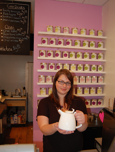 Sarah Olson offers up a pot of fresh and fragrant tea at the Nectar Tea Bar on Grizzly Plaza. David F. Rooney photo