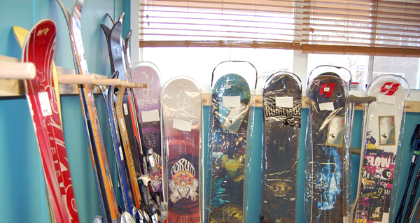 Boards, skis and other gear are lined up waiting for customers at Re Psyched. David F. Rooney photo
