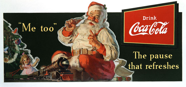This was Santa Claus as he was depicted in magazines in 1936. he was not that different in 1934 when the kids who wrote those really cute letter at the Revelstoke Museum would have seen him. Image courtesy of the Coca-Cola Company