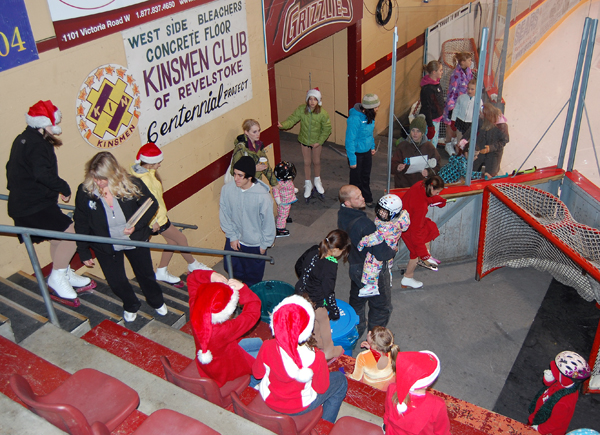 Young skaters await their turn to perform in the Revelstoke Skating Club's Christmas Show Off Event at the Forum late Thursday afternoon. David F. Rooney photo