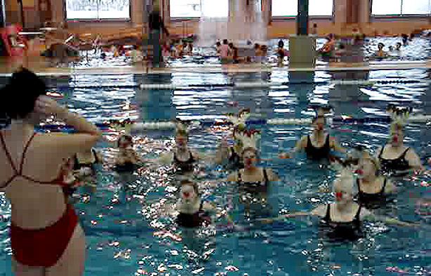 The ladies in Chantal Faucher's water fit class had a little fun on Thursday morning by showing up in the Aquatic Centre pool wearing antlers and red noses for a quick rendition of Rudolph the Red-Nosed Reindeer. Image from a movie by Troy Biggs