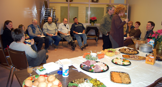 Union members got together with the executive of the Shuswap Columbia District Labour Council on Thursday for the council's annual Christmas social. They enjoyed some good conversation, an edible spread and fruit punch. David F. Rooney photo