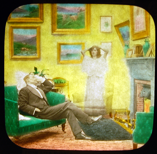 As he dozes on his couch he is visited by a ghost. Slide courtesy of the Nickelodeon Museum
