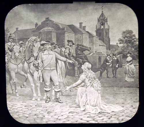 The heroine of The Curfew Must Not Ring Tonight begs Oliver Cromwell to spare her beloved. He refused. Slide courtesy of the Nickelodeon Museum