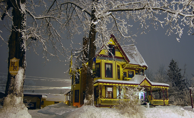 Stephanie Ballendine's Amble Inn is simply outlined in yellow lights.  David F. Rooney photo
