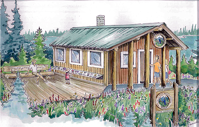 This is an artist's conception of how the Friends of Mount Revelstoke and Glacier's Balsam Lake Bookstore will appear when it is completed. Zuzana Driediger image courtesy of the FMRG