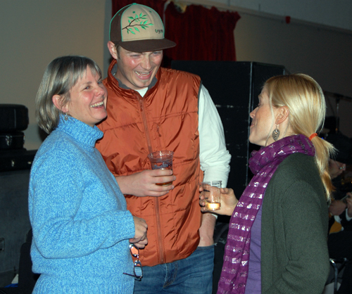 Sue Leach (left) shares a laugh with Giles Shearing and Marnie Digiandomenico.  David F. Rooney photo