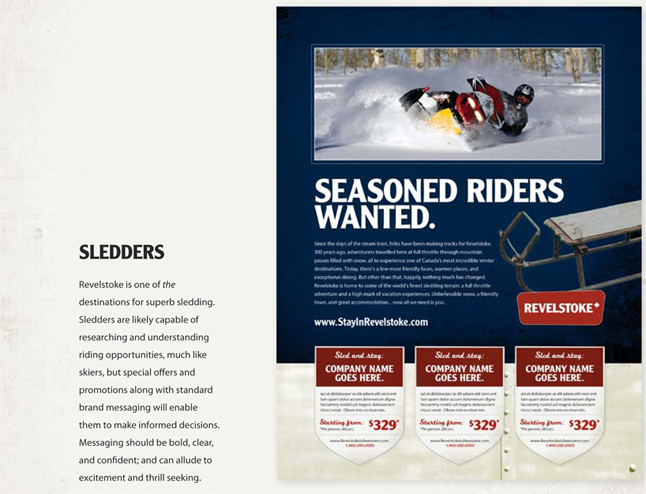 This is the kind of ad that would be aimed at sledders.  Image courtesy of the Revelstoke Accommodation Association