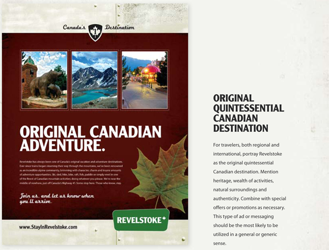 This is an adventure-oriented ad.  Image courtesy of the Revelstoke Accommodation Association